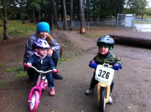 Wendy with Tycho and Tessa at the BMX track