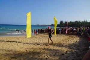 Mid-swim beach run