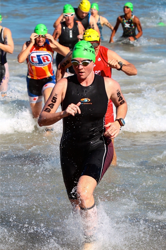 Cindy exiting the water at the Xterra World Championships