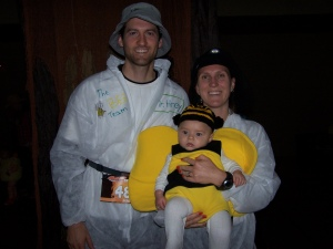 Cait, Alex and Oliver at a recent Halloween 5km race