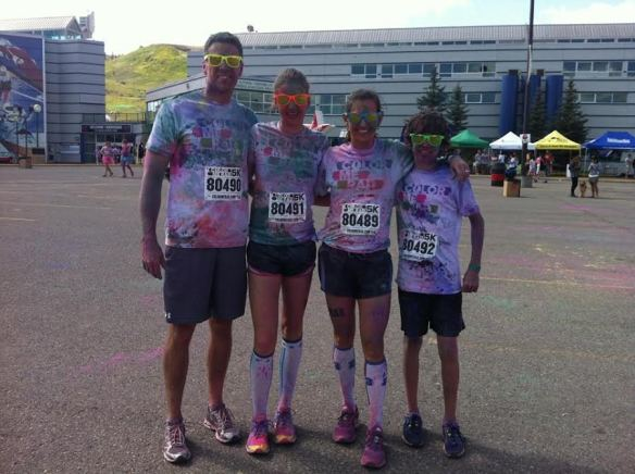 Family bonding Color Me Rad Run Race 2013
